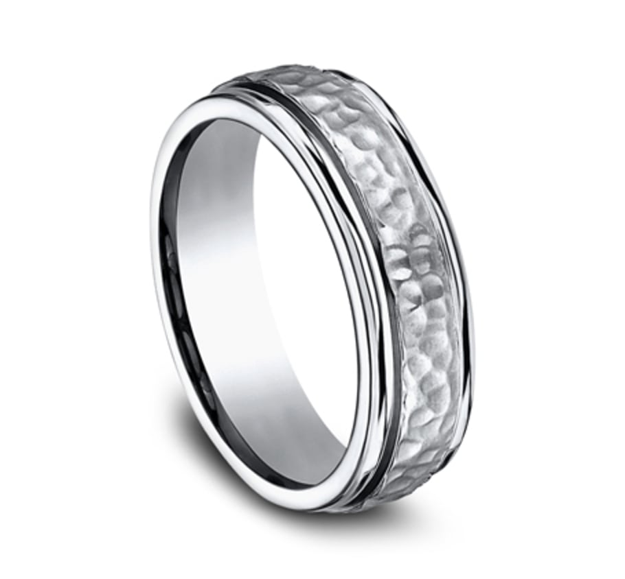 7.00mm Titanium Hammered Finish Wedding Ring