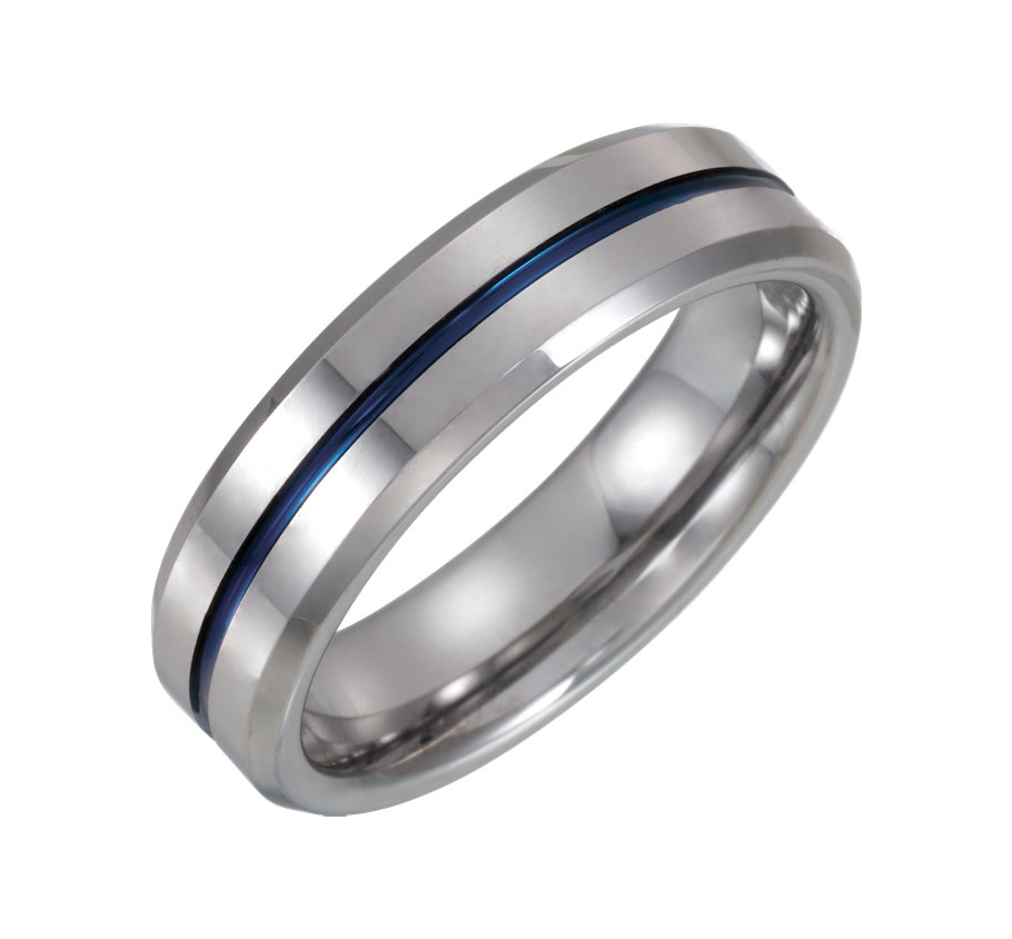 6.00mm Tungsten Blue Enamel Center Inlay Comfort Fit Beveled Edge Wedding Ring