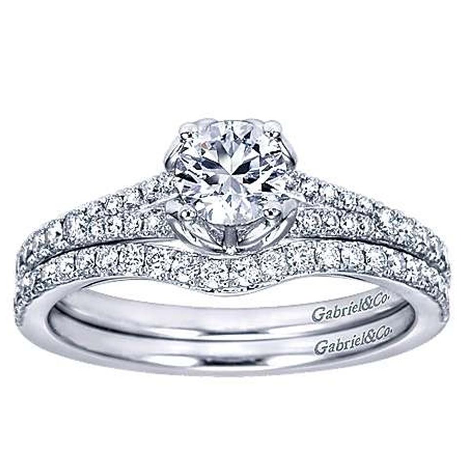 Ayleen Preset Round Diamond Matching Bridal Set (0.64 TCW)