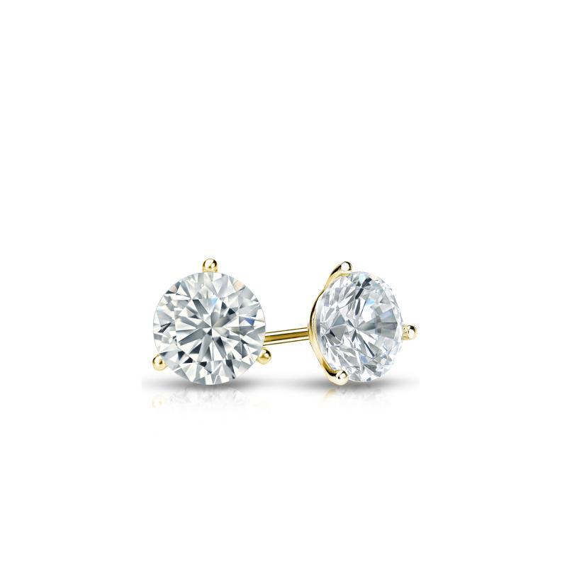 .25 CT. TW. Round Diamond Studs 14K Yellow Gold 3-Prong Martini Earrings