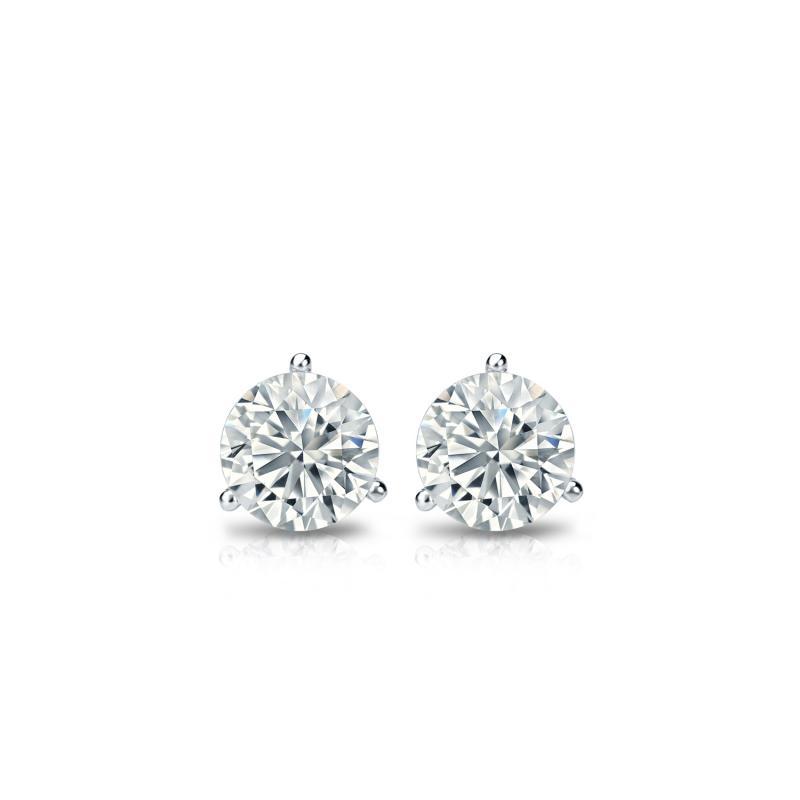 .25 CT. TW. Round Diamond Studs 18K White Gold 3-Prong Martini Earrings