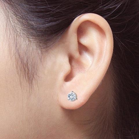 1.0 CT. TW. Round Diamond Studs Platinum 3-Prong Martini Earrings