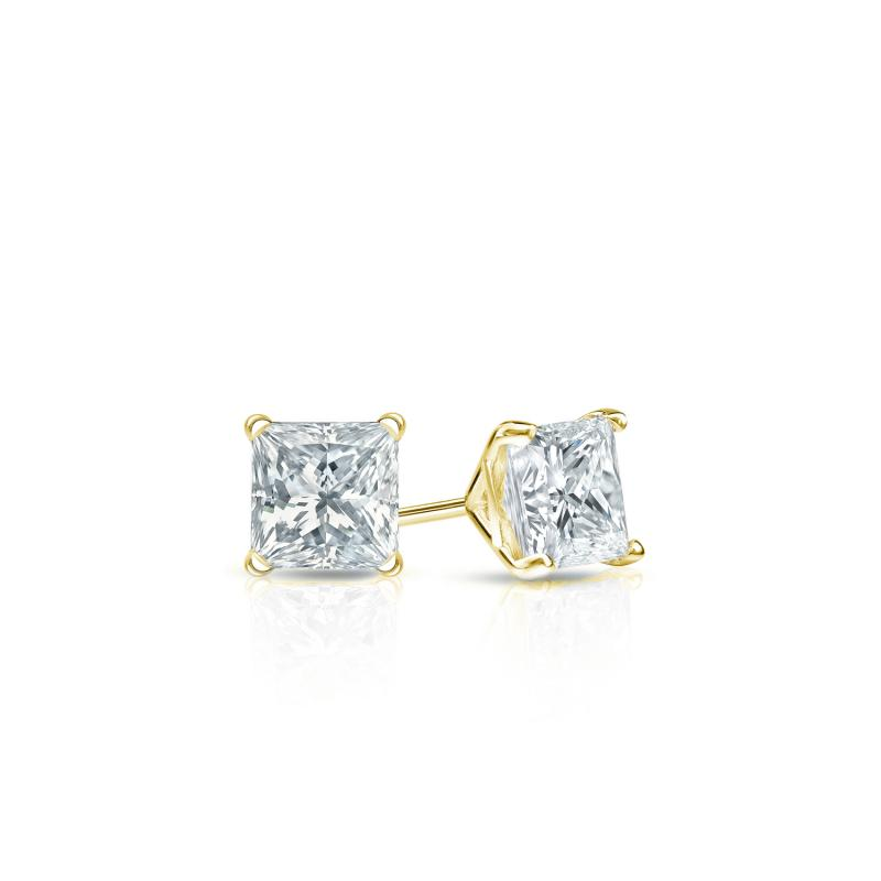 .25 CT. TW. Princess Diamond Studs 14K Yellow Gold 4-Prong Martini Earrings