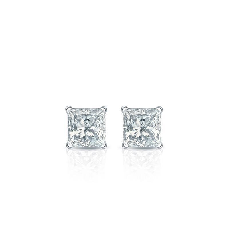 .25 CT. TW. Princess Diamond Studs 14K White Gold 4-Prong Martini Earrings