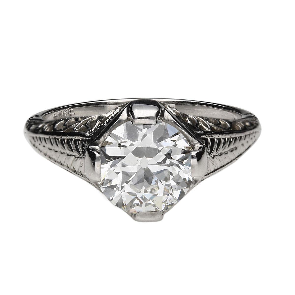 Vintage Art Deco Filigree Engagement Ring (1.78 TCW)