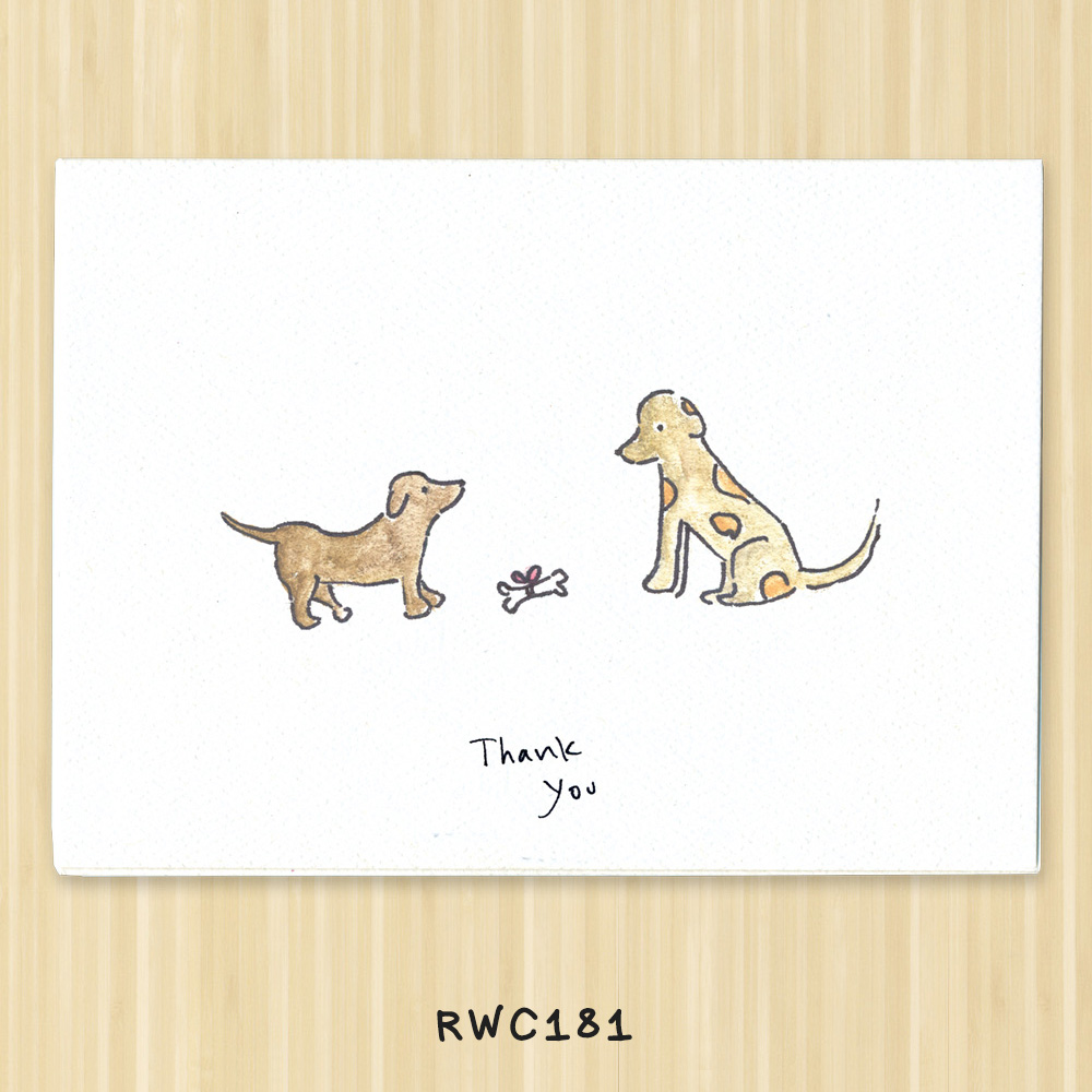 dog and puppy greeting card expressing gratitude