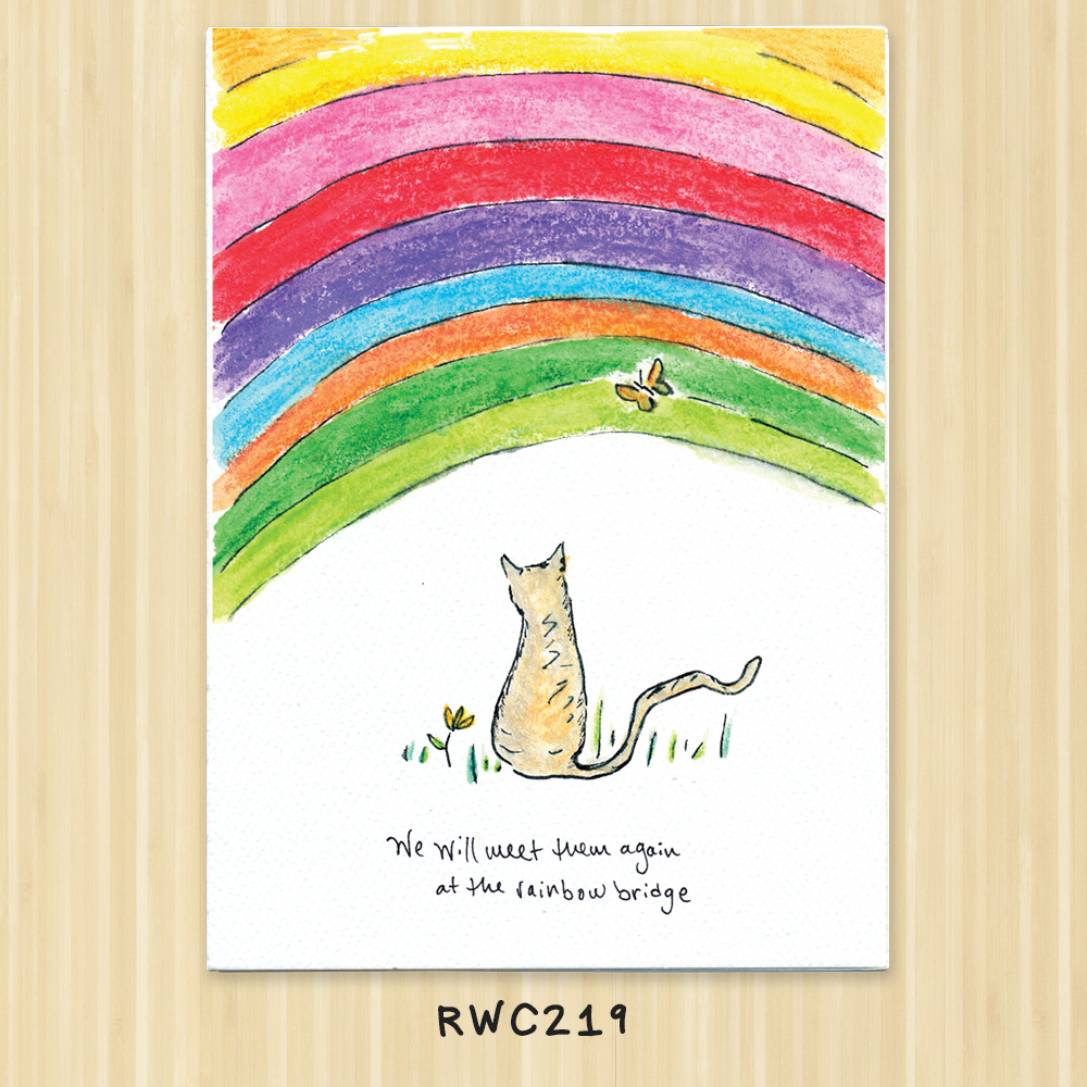 cat rainbow greeting card for vets, animal shelters