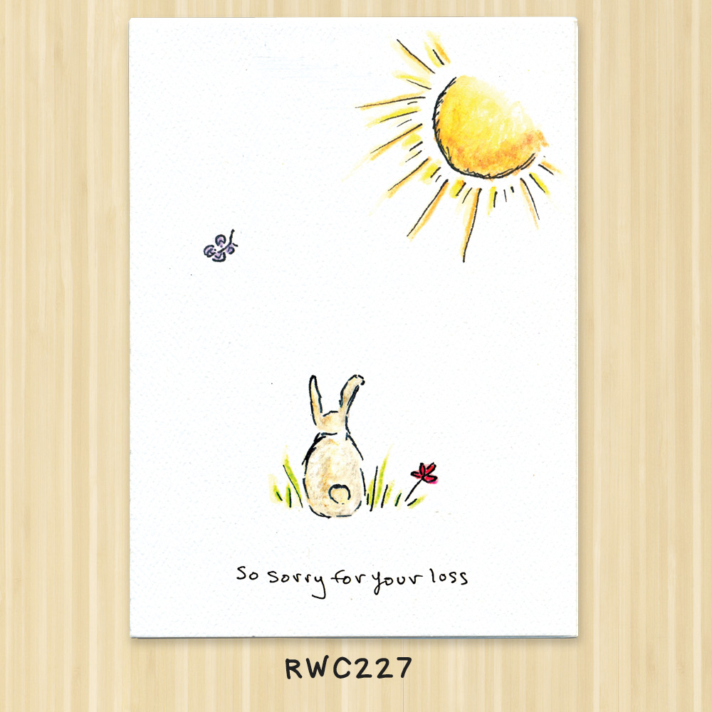 rabbit or bunny sympathy greeting card for veterinarians and  animal service organizations