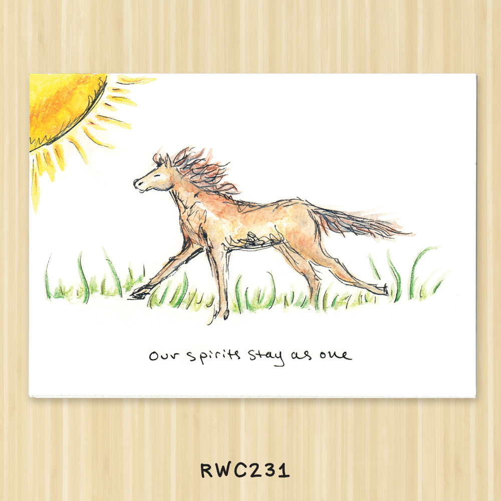 horse sympathy greeting card for veterinarians and  animal service organizations
