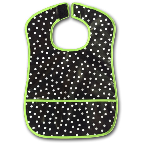 Ariella Handmade Waterproof Spotted Feeding Bib Lime Trim