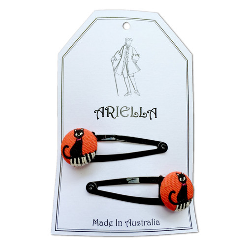 Ariella Sitting Cat Piano Hair Clips Black