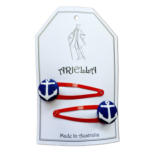 Ariella Anchor Hair Clips Red