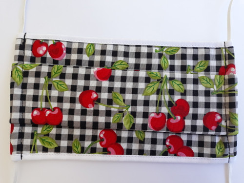 Rockabilly Cherry and Check Reusable Face Mask