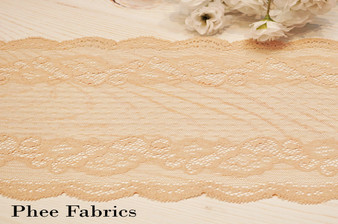 "7""  Bisque French Dot Stretch Lace Trim"
