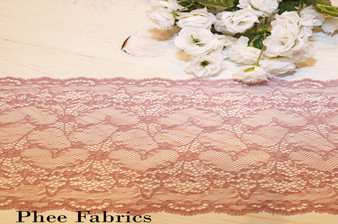 "7"" Dusty Rose Stretch Lace Trim"