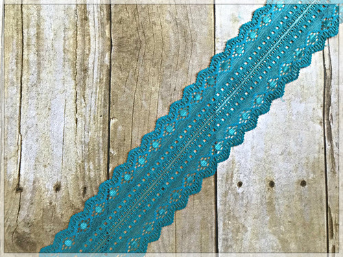 "TEAL 2.5"" Stretch Lace Trim"