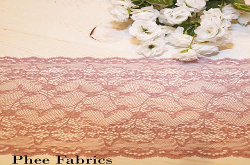 """7"""" Dusty Rose Stretch Lace Trim"""