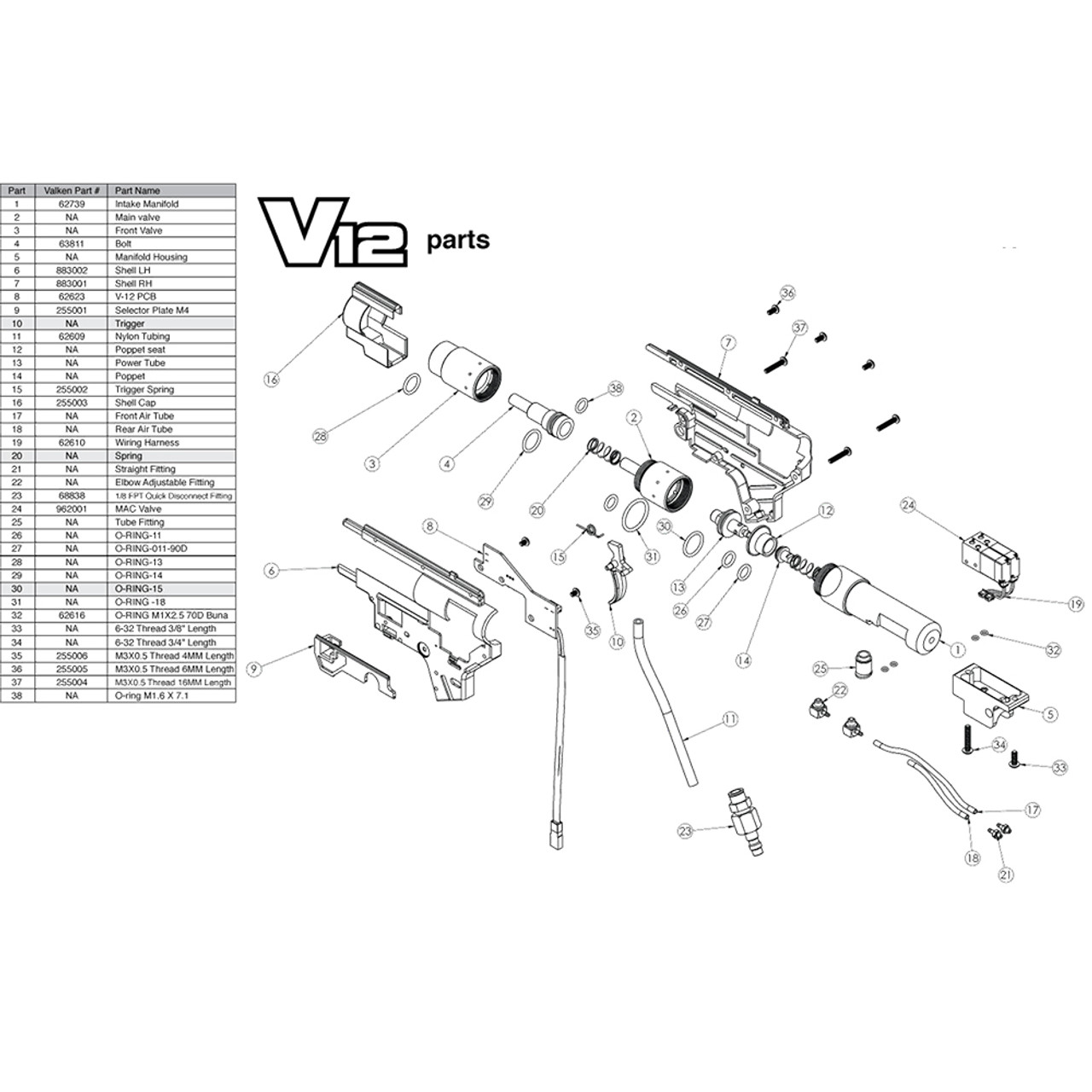 VALKEN V12 HPA ENGINE DIAGRAM low price of $0