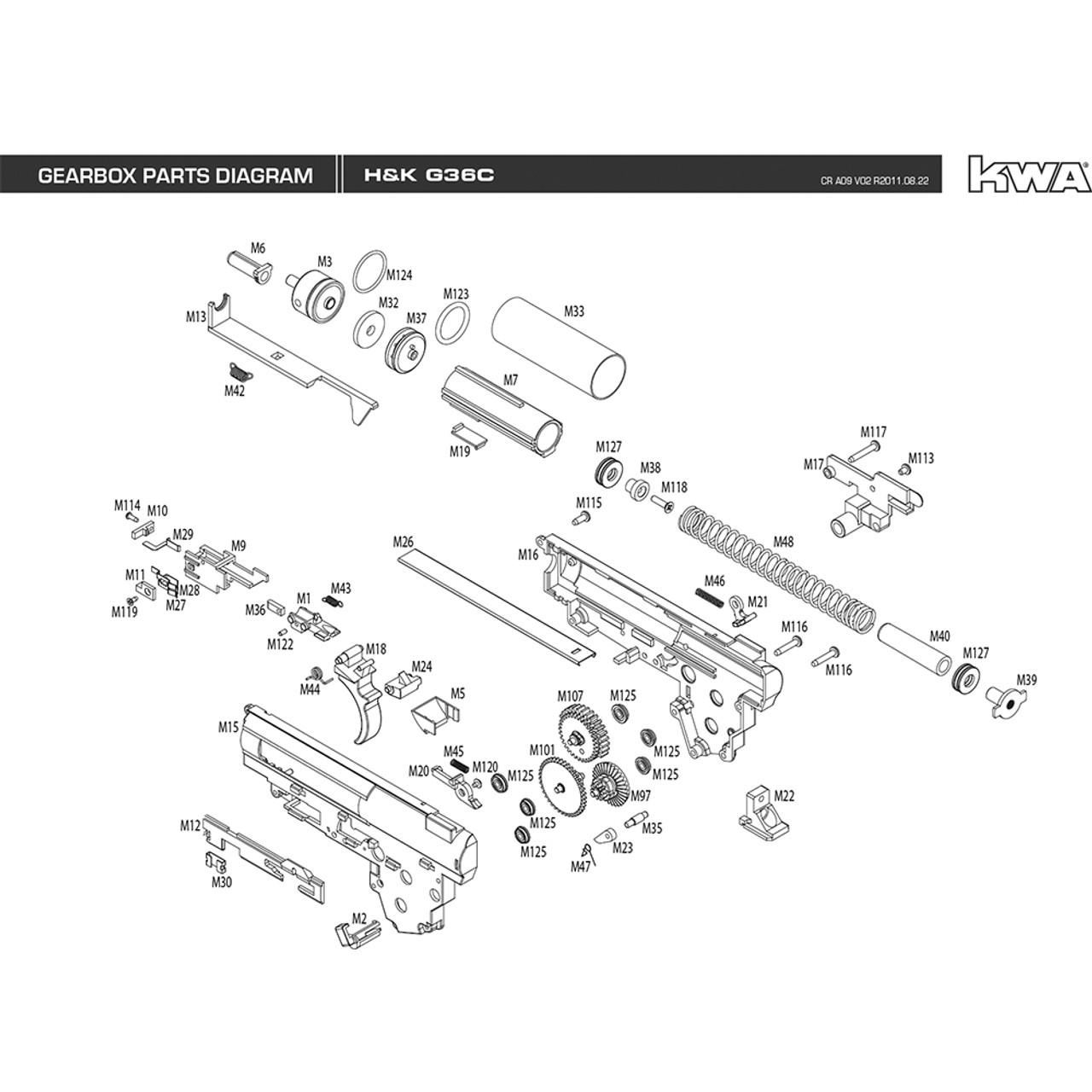 KWA AIRSOFT H&K G36C GEARBOX DIAGRAM low price of $0MiR Tactical