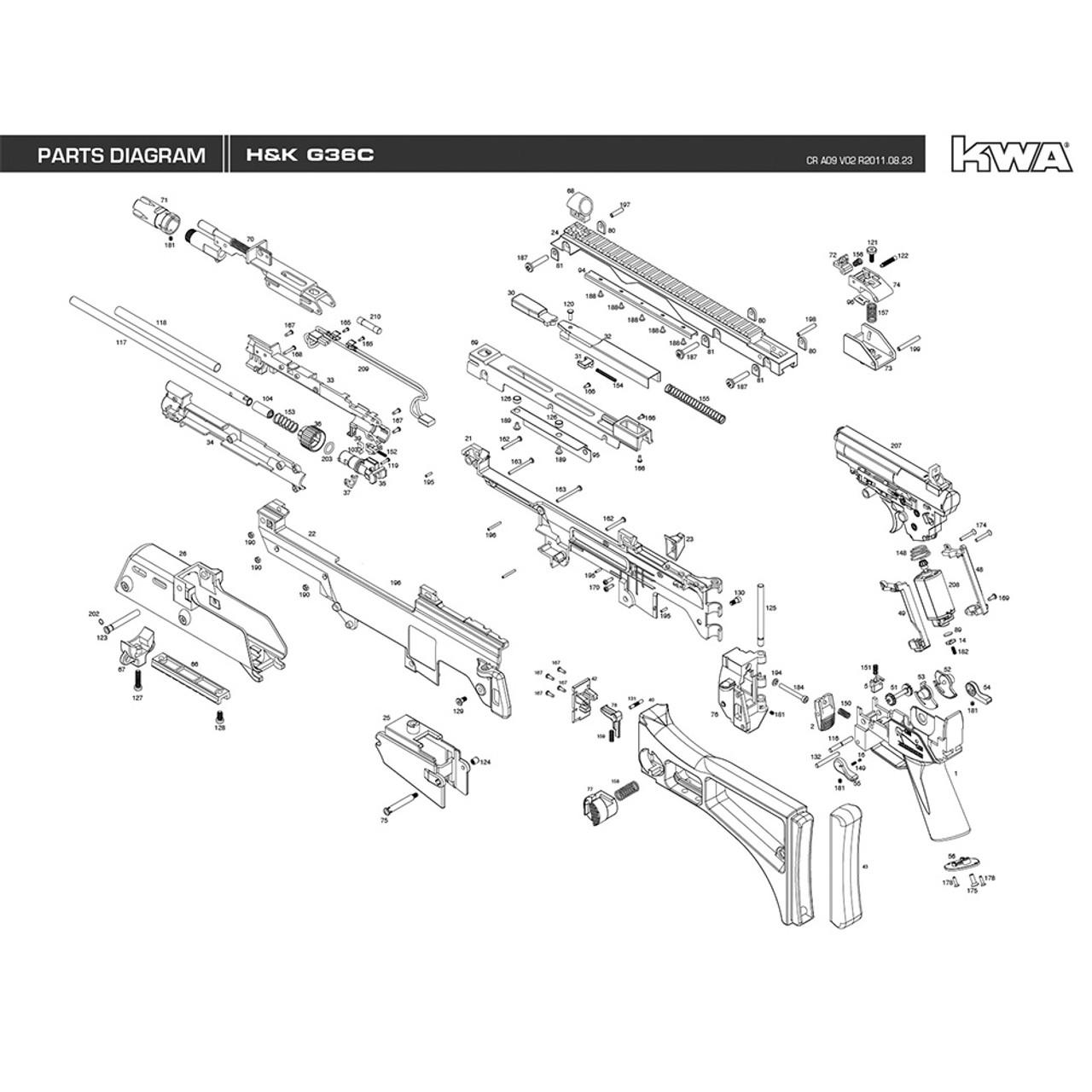 KWA AIRSOFT H&K G36C RIFLE DIAGRAM - MiR Tactical