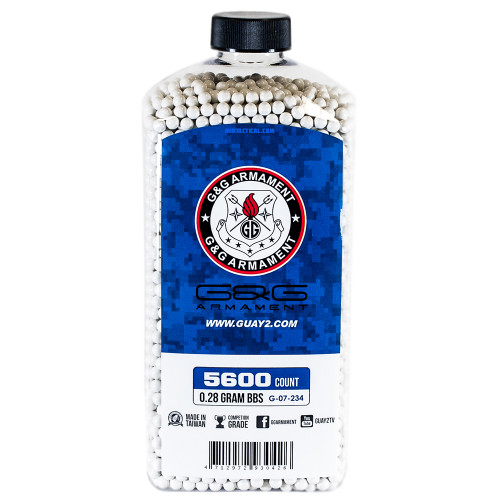 G&G PERFECT 0.28 GRAM AIRSOFT BBS - 5600 COUNT