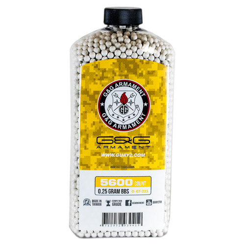 G&G PERFECT 0.25 GRAM AIRSOFT BBS - 5600 COUNT