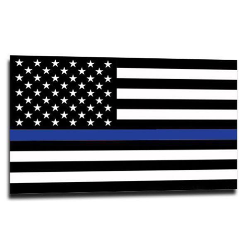 Thin Silver Line American Sticker, 4 x 6 Inches