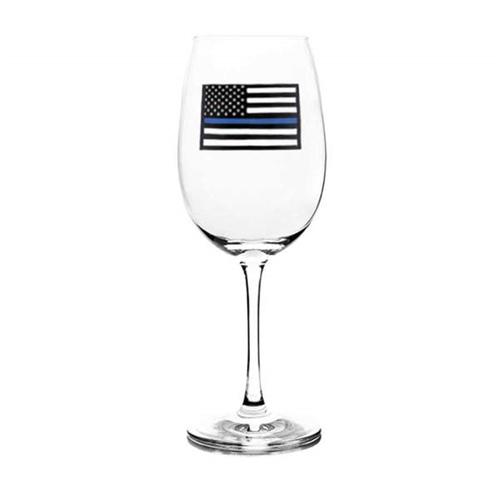 Wine Glass - Thin Blue Line Flag, 12 Oz
