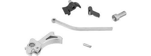 AIRSOFT MASTERPIECE CNC STEEL S STYLE SPUR HAMMER & SEAR SET FOR MARUI HI-CAPA SILVER