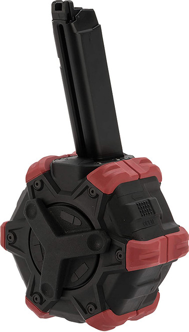 AW CUSTOM 350 RNDS DRUM MAGAZINE FOR GLOCK BLACK AND RED