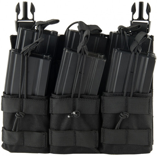 LANCER TACTICAL GREEN ADAPTIVE HOOK AND LOOP TRIPLE M4/PISTOL MAG POUCH BLACK