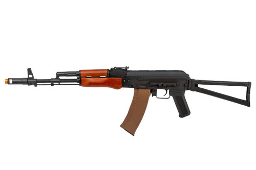 LANCER TACTICAL AK-74N WITH FOLDING SKELETON STOCK AND REAL WOOD FURNITURE AIRSOFT AEG - BLACK