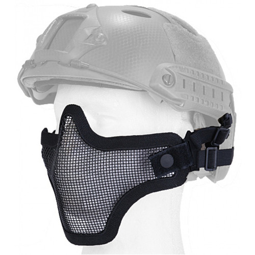 UK ARMS METAL MESH LOWER HALF MASK WITH DOUBLE STRAP - BLACK