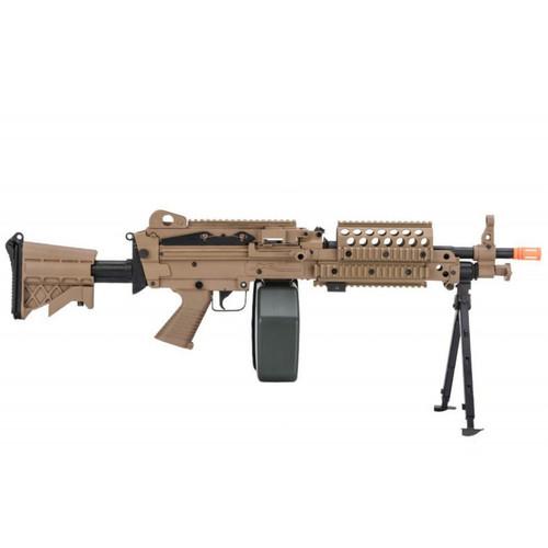 A&K M249 MK46 SAW LIGHT MACHINE GUN WITH POLYMER RECEIVER AND BIPOD - DARK EARTH