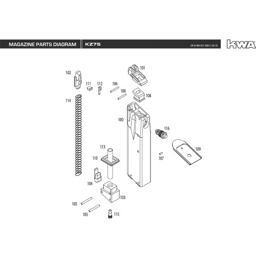 KWA AIRSOFT KZ75 MAGAZINE DIAGRAM