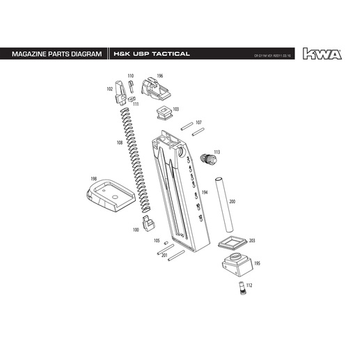 KWA AIRSOFT H&K USP COMPACT MAGAZINE DIAGRAM