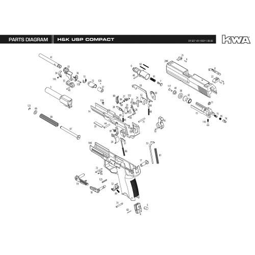 KWA AIRSOFT H&K USP COMPACT PISTOL DIAGRAM
