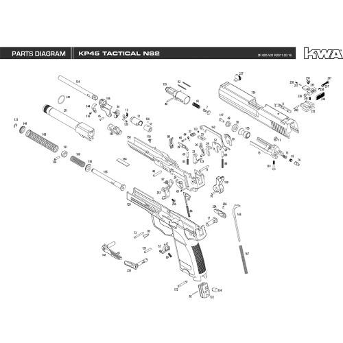 KWA AIRSOFT KP45 TACTICAL NS2 PISTOL DIAGRAM