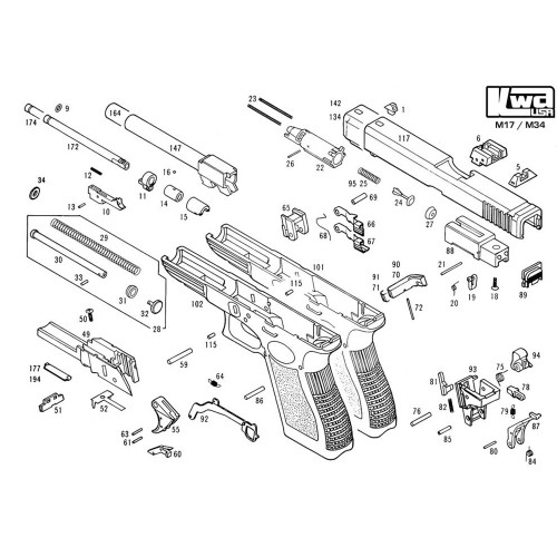 KWA AIRSOFT M17/M34 PISTOL DIAGRAM