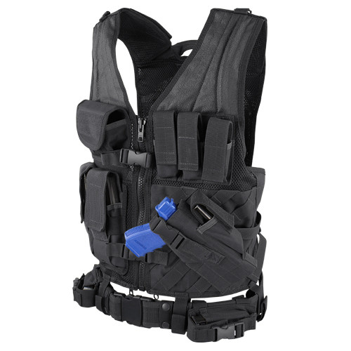CROSS DRAW VEST BLACK for $59.99 at MiR Tactical