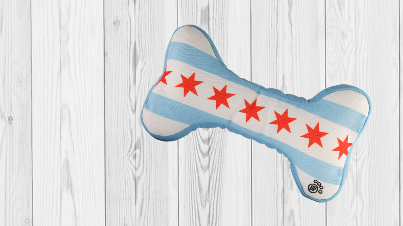 Chicago Flag Bone Dog Toy