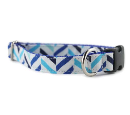 Seaside Herringbone Dog Collar