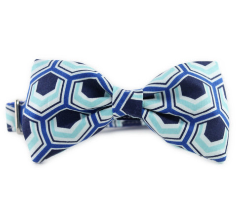Blue Hexagon Bow Tie Dog Collar
