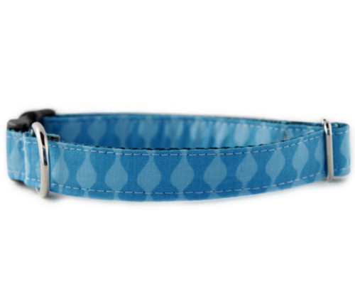Blue Waves Bow Tie Dog Collar