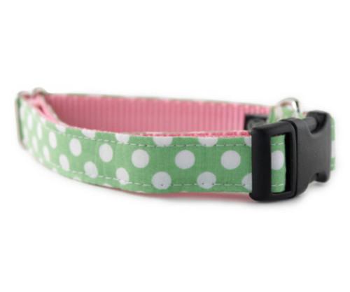 Lime Dot Bow Tie Dog Collar