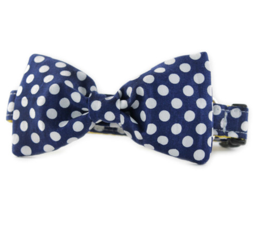 Navy Dot Bow Tie Dog Collar