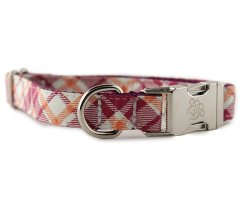 Raspberry and Orange Plaid Bow Tie Dog Collar