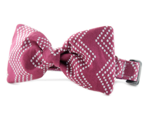 Raspberry Splash Chevron Bow Tie Dog Collar
