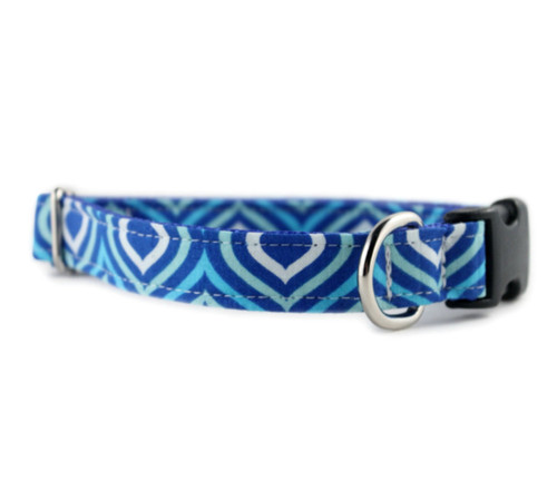 Royal Blue Waves Bow Tie Dog Collar