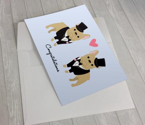 Wedding French Bulldogs 2 Grooms Greeting Card